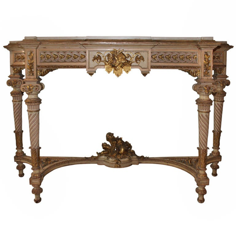 Louis XVI Style Carved Wood Console Table with a Painted and Parcel Gilt  Finish 1. Louis XVI Style Carved Wood Console Table with a Painted and