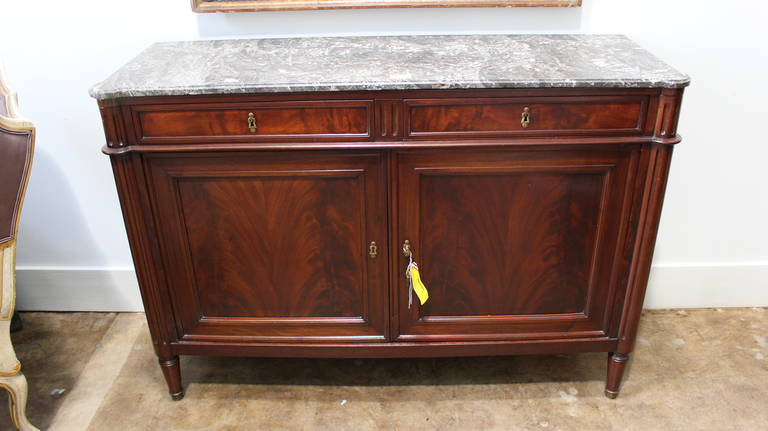 Marvelous Louis XVI Mahogany Buffet With Marble Top 3