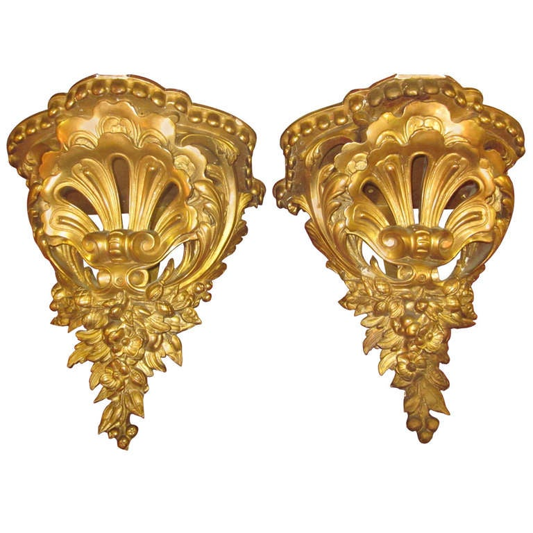 pair of gilded wall brackets 1