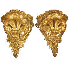Pair of Gilded Wall Brackets