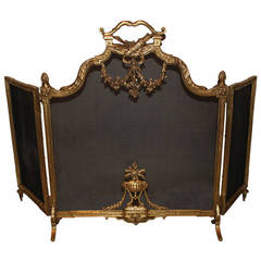 A French Louis XVI Style, Three-Panel Bronze Fire Screen
