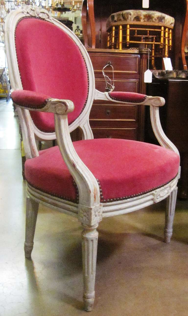 A set of six 19th century Louis XVI grey painted fauteuils.