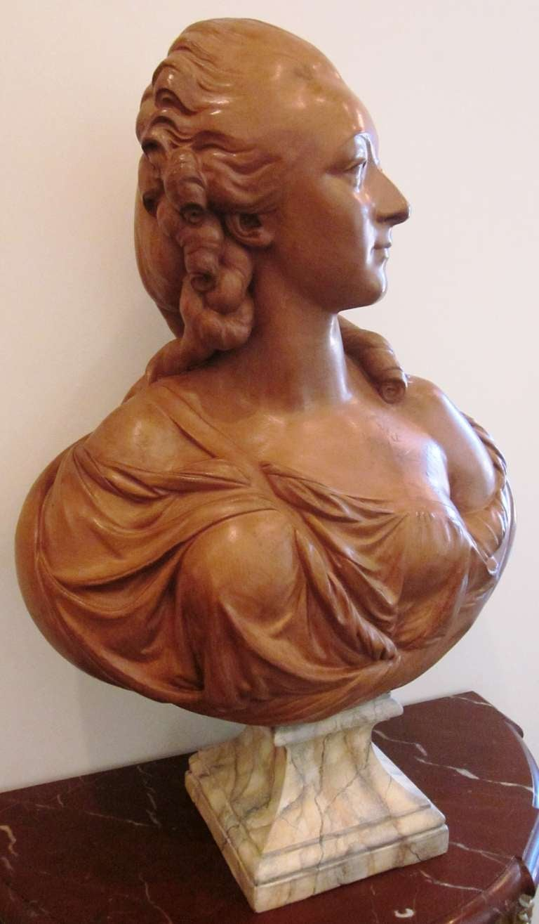 Louis XV French Terracotta Bust of Madame du Barry For Sale