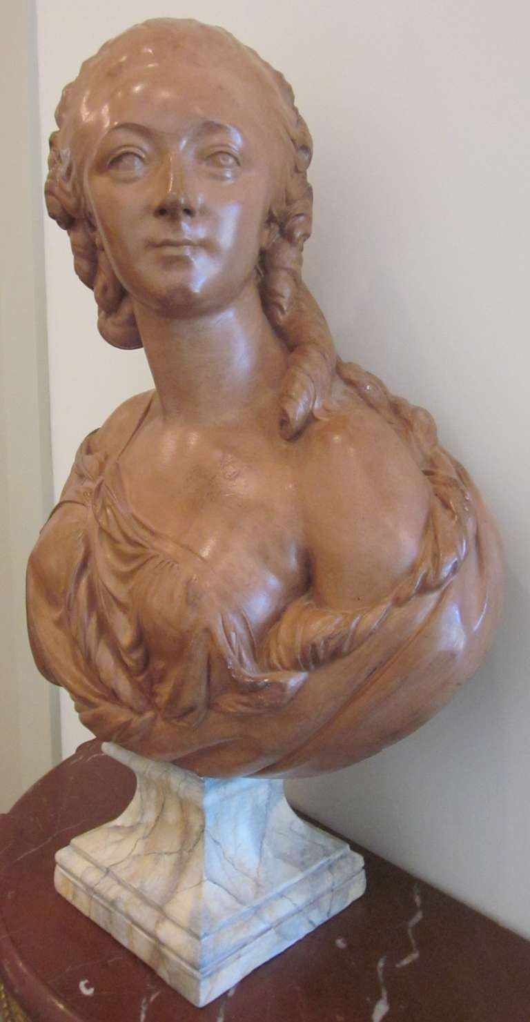 French Terracotta Bust of Madame du Barry In Good Condition For Sale In Dallas, TX
