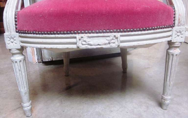 Set of Six 19th Century Louis XVI Grey Painted Fauteuils In Good Condition For Sale In Dallas, TX