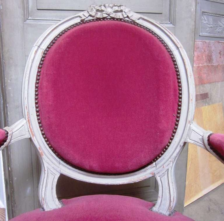 Fabric Set of Six 19th Century Louis XVI Grey Painted Fauteuils For Sale