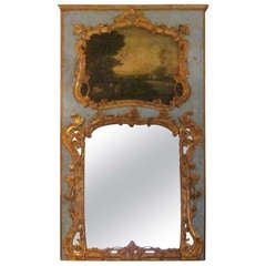 French 19th Century Painted and Parcel-Gilt Trumeau Mirror
