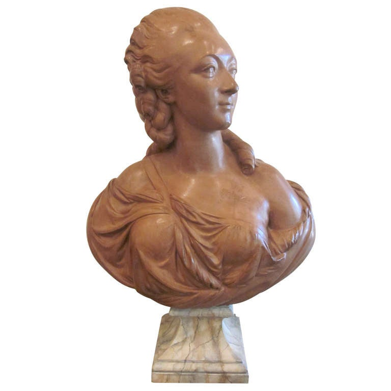 French Terracotta Bust of Madame du Barry For Sale