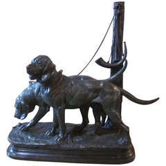 A French 19th Century Patinated Bronze Sculpture of a Pair of Hunting Dogs