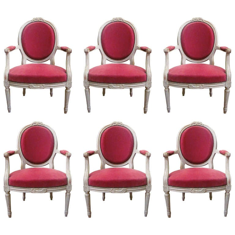 Set of Six 19th Century Louis XVI Grey Painted Fauteuils