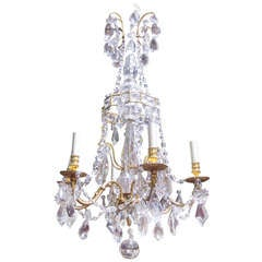 French 19th Century Louis XVI Style Bronze Dore and Crystal Chandelier