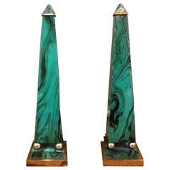 A Pair of Faux Malachite Enameled Obelisk with Brass Fittings