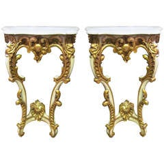 Pair of French Louis XV Style Console Tables