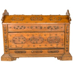 16th Century , Large Pine and Oak Chest / Trunk