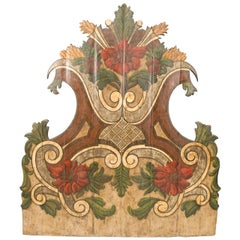 19th Century Portugese Polycromed Headboard,