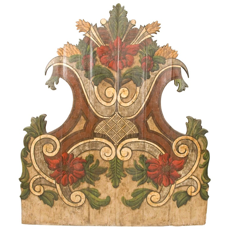 19th Century Portugese Polycromed Headboard,  For Sale