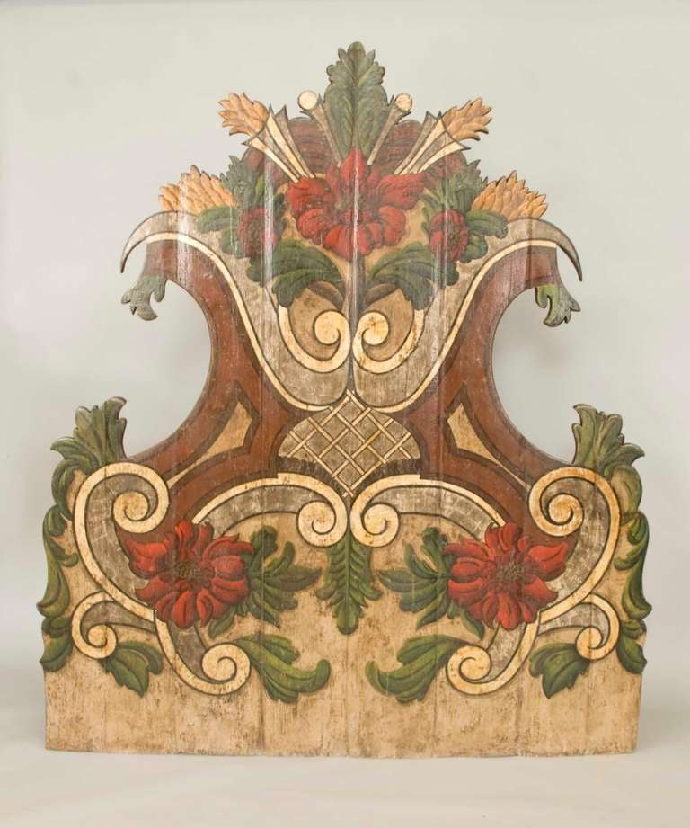 Exuberant Portuguese polycromed stately headboard.
