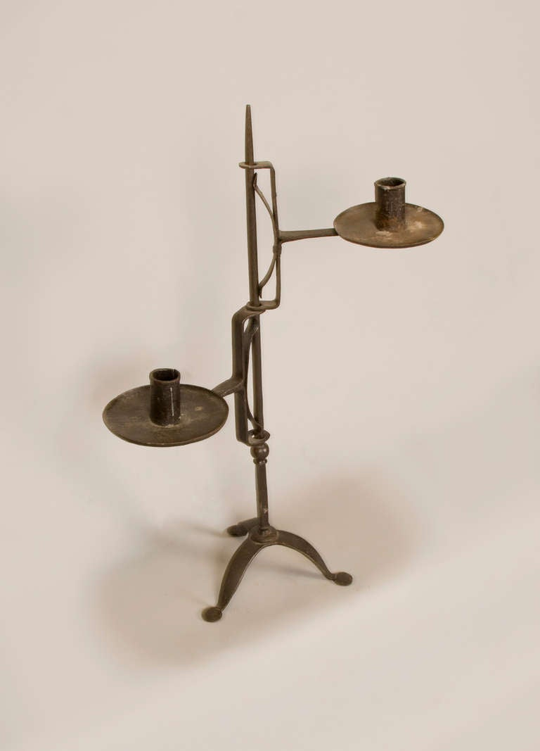 Late 18th Early 19th Century American Forged Iron Candle