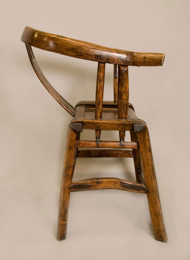 Wood Pair of 19th Century Chinese Yoke Back Chairs For Sale