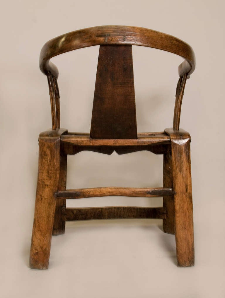 Pair of 19th Century Chinese Yoke Back Chairs For Sale 1