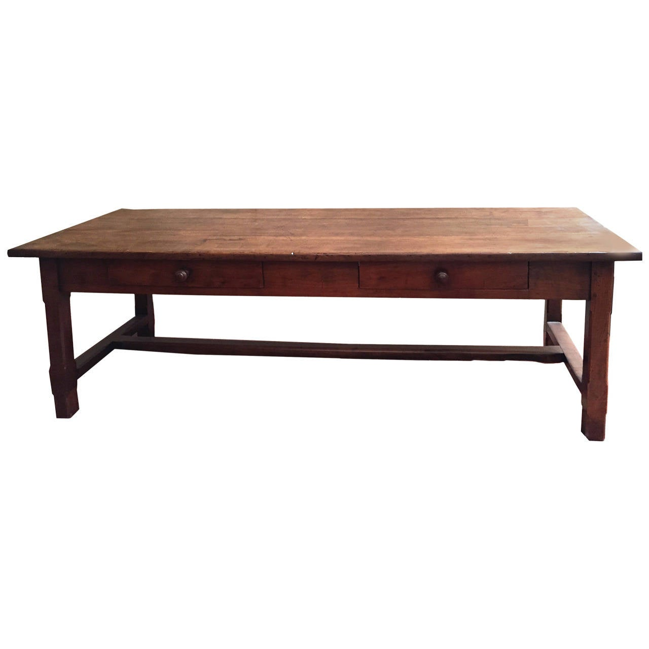 19th Century French Farmhouse Trestle Table in Cherrywood For Sale at 1stdibs
