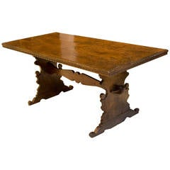 17th Century Italian Walnut Trestle Dining/Console Table