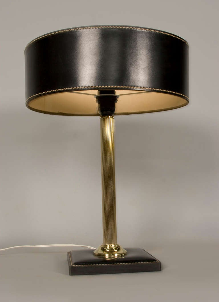 Jacques Adnet Leather-Clad Table Lamp For Sale at 1stdibs