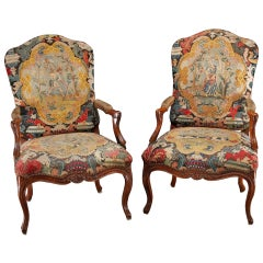 Late 17th-Early 18th Century Louis XV Walnut Fauteuils with Period Needlework