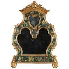 18th Century Venetian Mirror, Faux Marble, Gilded, Original Mercury Glass