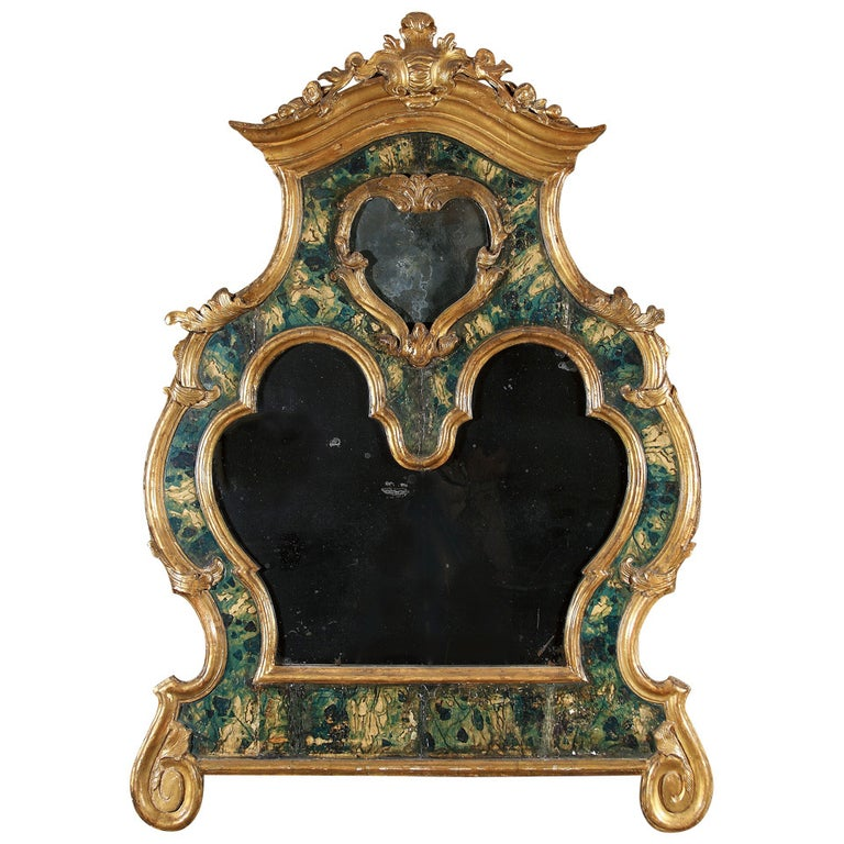 18th Century Venetian Mirror, Faux Marble, Gilded, Original Mercury Glass For Sale