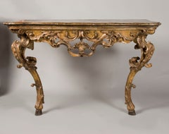 Mid 18th Century Italian Rococo painted and gilded Console