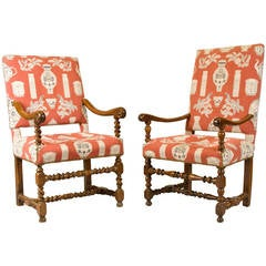 French Walnut Armchairs, Louis XIII Period, Fine Upholstery