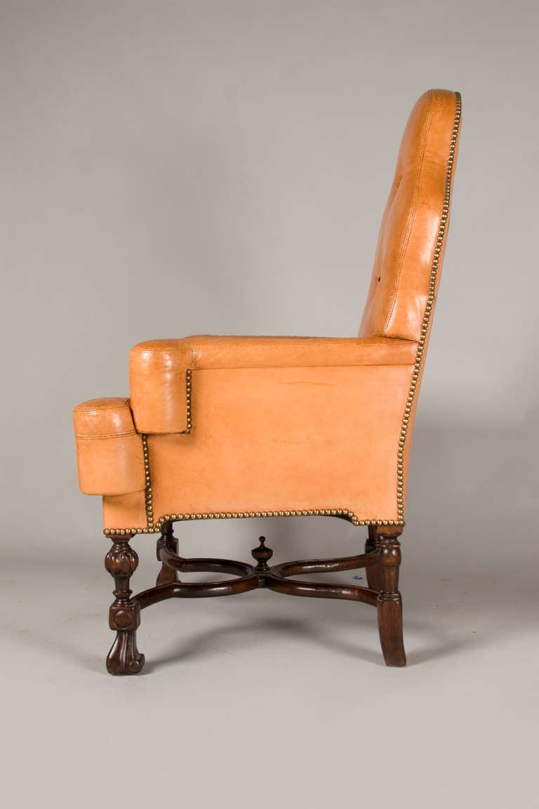 Queen Anne Style Library Reading Chair For Sale At 1stdibs