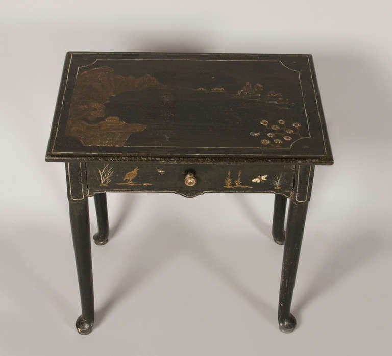 George II Style Side Table, Black Lacquer With Primitive Raised Chinoiserie  3