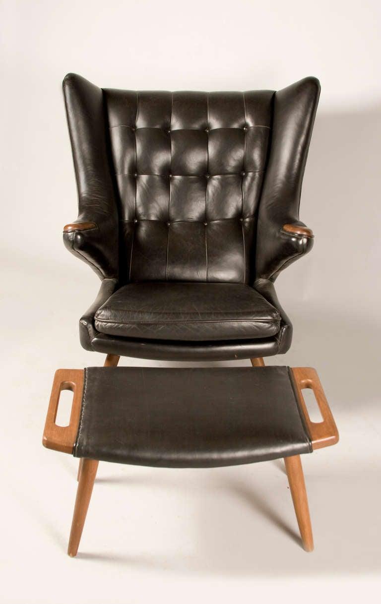 Superb Hans Wegner Inspired Papa Bear Chair And Ottoman Ibusinesslaw Wood Chair Design Ideas Ibusinesslaworg