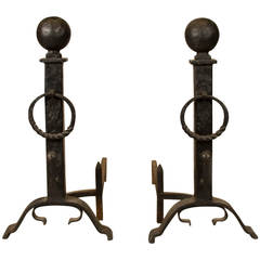 Pair of Large Andirons, Hand-Forged Iron