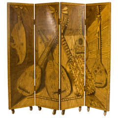 Early and Rare Four-Panel Folding Screen by Piero Fornasetti