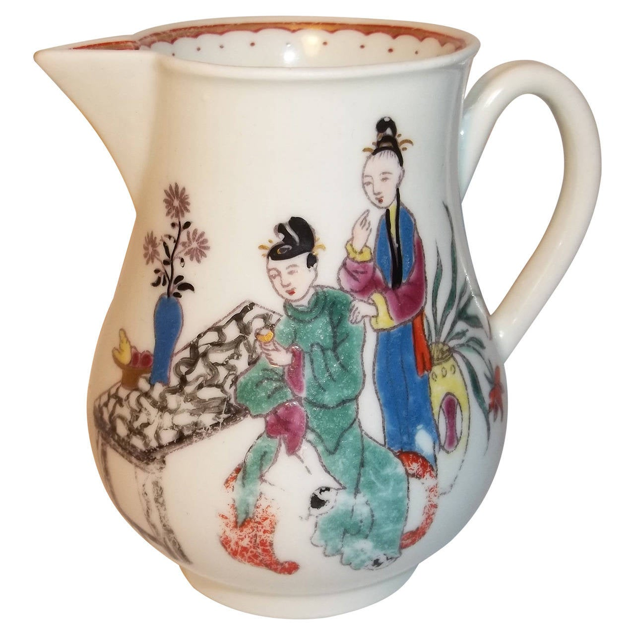 First Period Worcester Porcelain Milk Jug Chinese Family Pattern, circa 1770