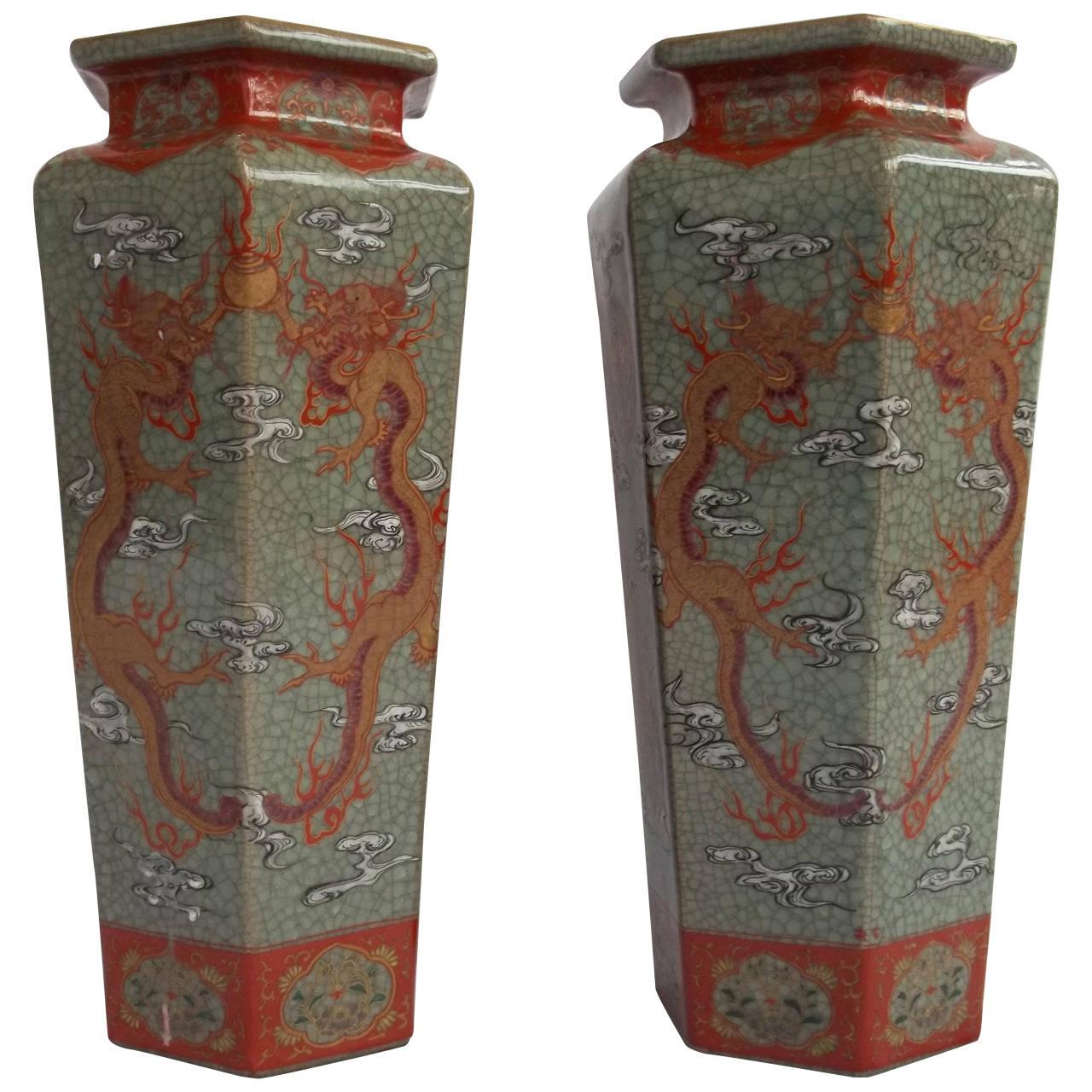 19thc pair of large chinese vases porcelain celadon crackle pair of large chinese vases porcelain celadon crackle glaze qing for reviewsmspy