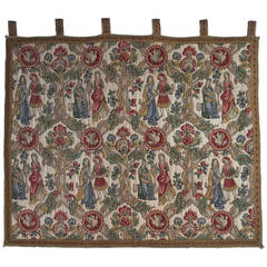 French Tapestry in the Medieval Aubusson Style with tab top, Circa 1920