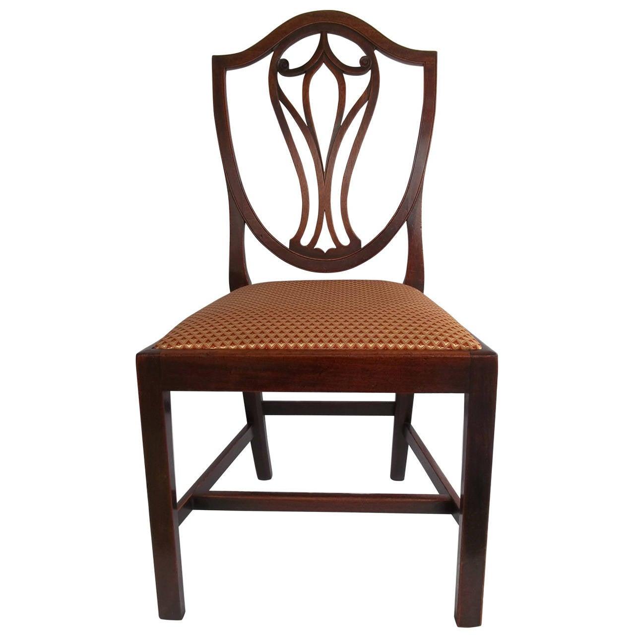Elegant 18th Century Hepplewhite Side Chair in Mahogany, English circa 1785 For Sale