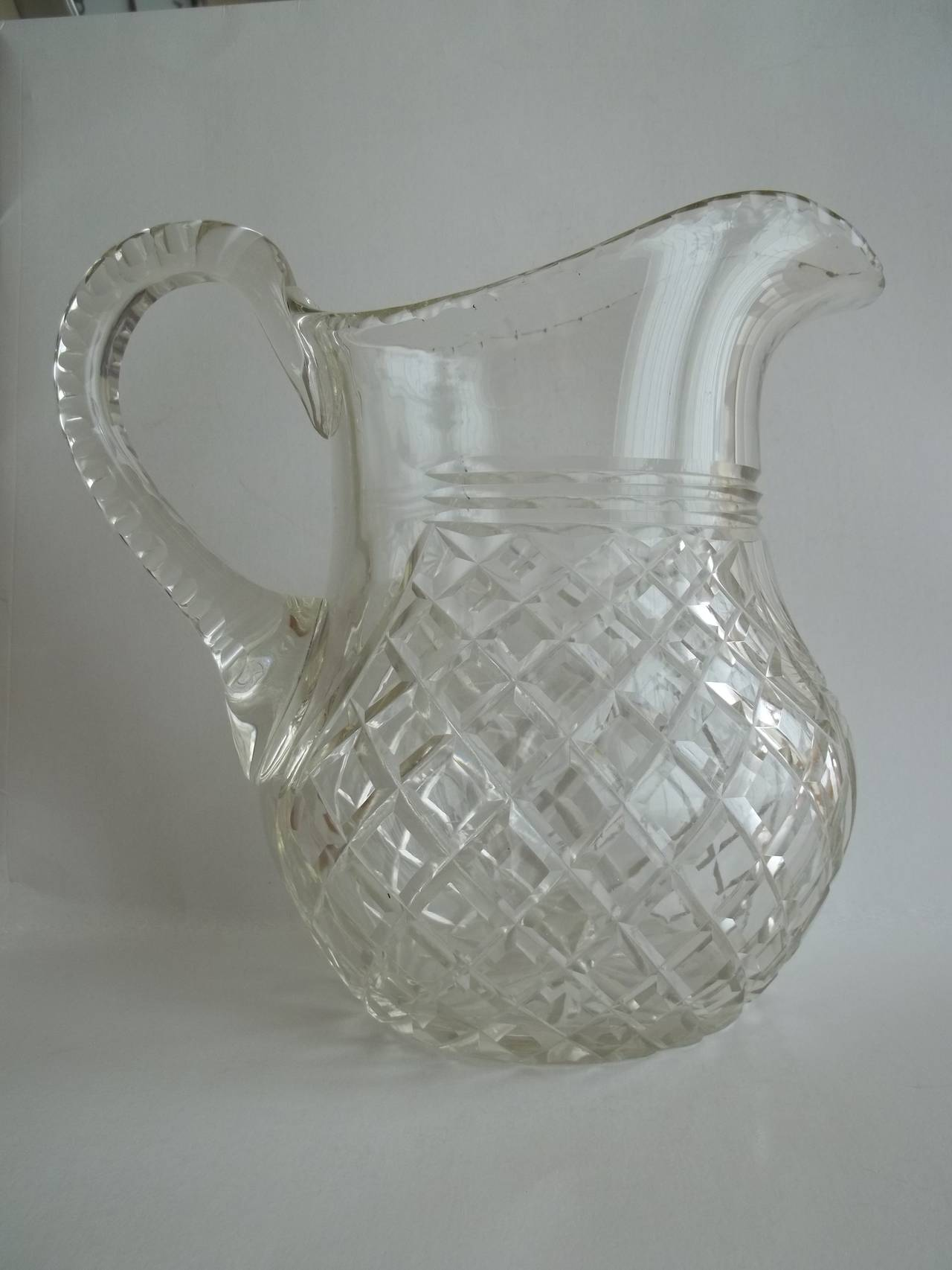 late georgian cut glass crystal water jug or pitcher lead. Black Bedroom Furniture Sets. Home Design Ideas