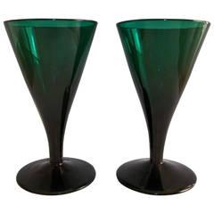 Georgian Pair of Wine Glasses Bristol Green Hand-Blown Trumpet Bowl, circa 1790