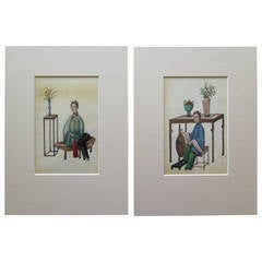 Early 19th Century, Beautiful Pair of Chinese Watercolor Paintings on Pith Paper