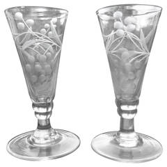 Georgian Pair of Wine Drinking Glasses Hand-blown and Engraved, Circa 1790