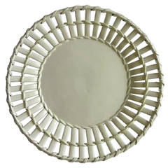 Leeds Pottery antique Creamware Latticed Dish or Plate , English circa 1790