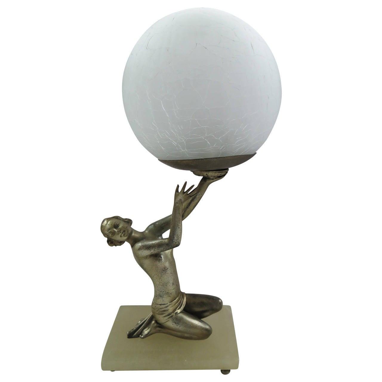 Original Art Deco Lady Figurine Table Lamp Or Light