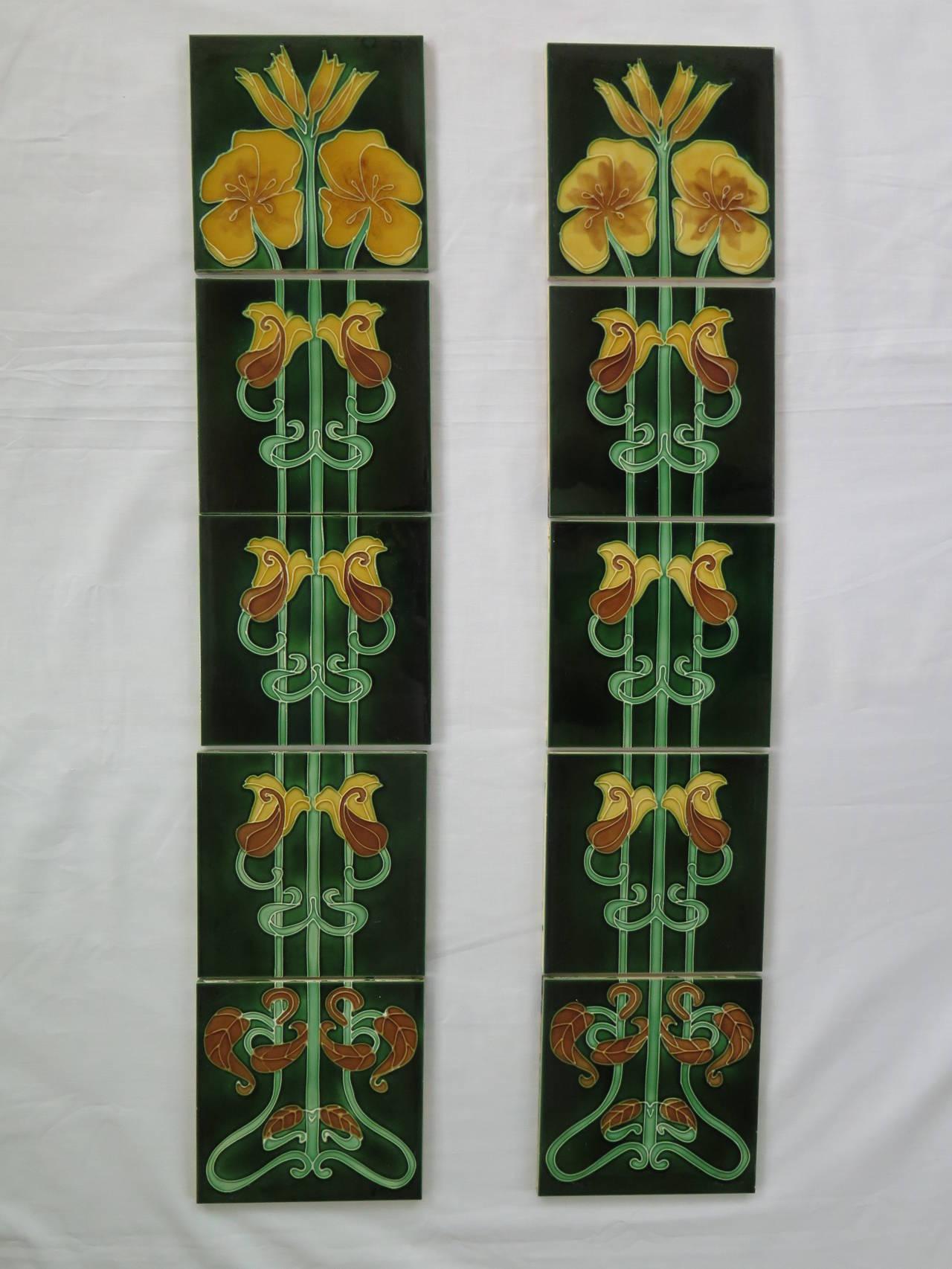 Set of ten ceramic tiles in the art nouveau style at 1stdibs set of ten ceramic tiles in the art nouveau style 2 dailygadgetfo Images