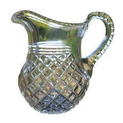 Late Georgian Cut-Glass Crystal Water Jug or Pitcher Lead Glass, circa 1810