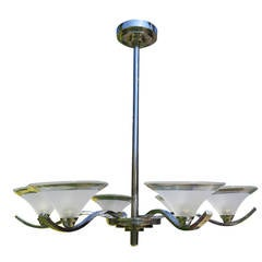 Art-Deco Period Ceiling Light or Lamp Chandelier Six Branch chrome, circa 1925